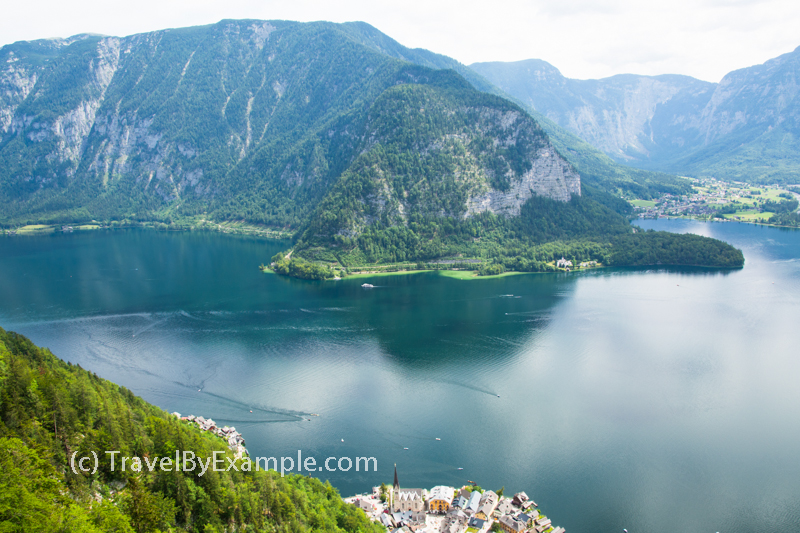 Hallstatt lake and city as seen from Skywalk Lookout