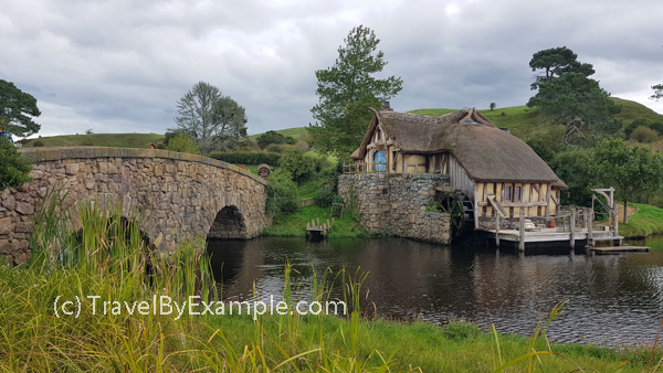 Hobbiton's mill house and stone bridge