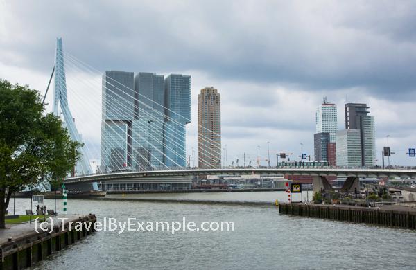 Erasmus bridge and modern architecture of Rotterdam