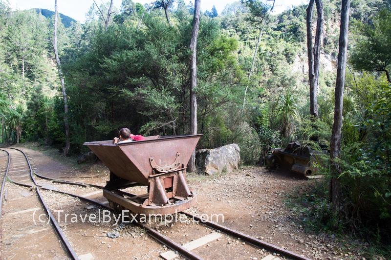 An old minecart at Karangahake Windows Walk