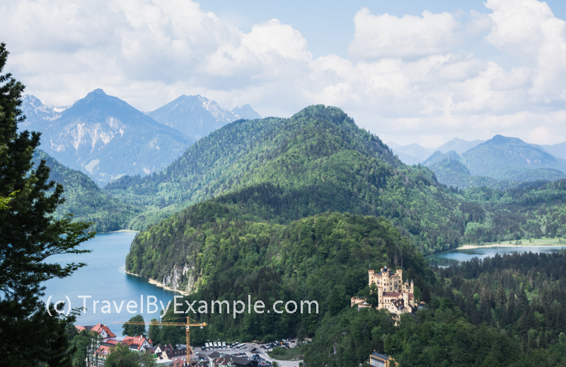 Hohenschwangau castle in the picturesque setting above lake Alpsee