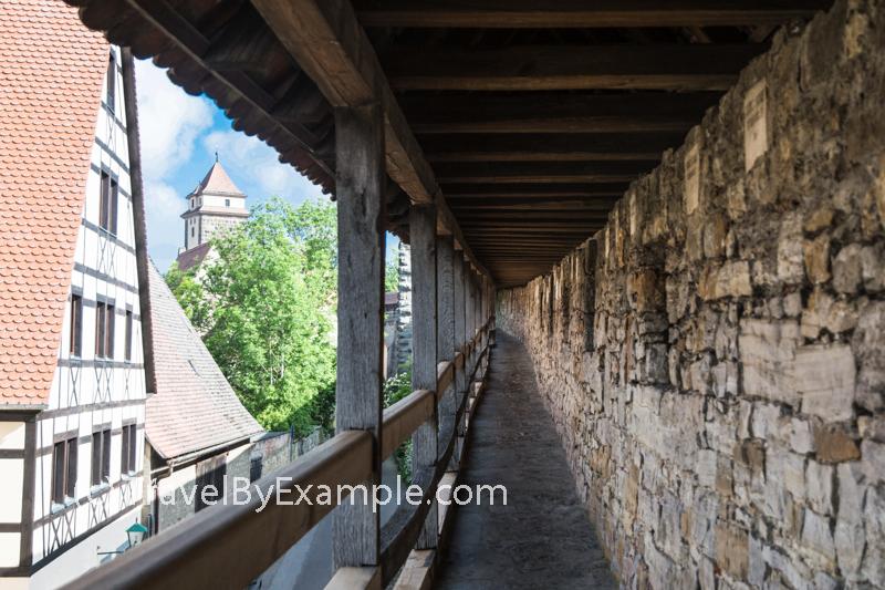 Walking on the old walls around Rothenburg ob der Tauber