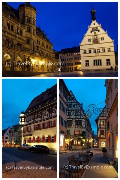 Fairy-tale Rothenburg ob der Tauber at night